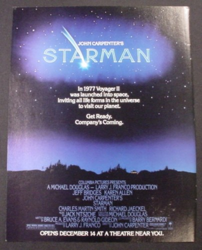 Magazine Ad for Starman Movie, Jeff Bridges, Karen Allen, 1984