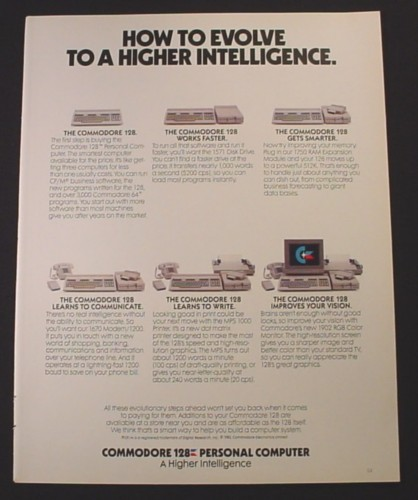 Magazine Ad for Commodore 158 Computer, Evolution from 6 Models, 1985