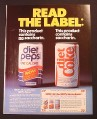 Magazine Ad for Diet Pepsi & Diet Coke Cans, Pepsi Does not have Saccharin , 1985