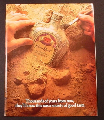 Magazine Ad for Crown Royal Whisky, Digging A Bottle Out Of The Sand, 1981