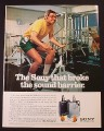 Magazine Ad for Sony Walkman, Man Riding Exercise Bike, 1981