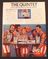 Magazine Ad for JVC Portable Stereo Component System, Harlem Globetrotters