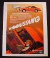 Magazine Ad for Ford Mustang Car, Red with T-Roof, 1981
