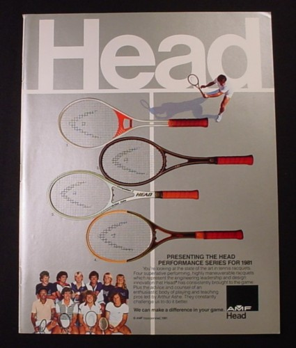 Magazine Ad for Head Tennis Racquets, AMF, 4 Models, 1981