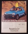 Magazine Ad for Renault Le Car, Surfboard Through Sunroof, 1981