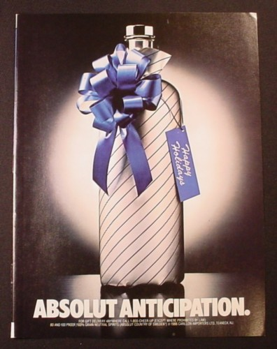 Magazine Ad for Absolut Anticipation, Vodka, Bottle Wrapped Up, 1986