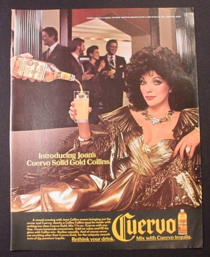 Magazine Ad for Cuervo Tequila, Joan Collins Celebrity Endorsement, 1986