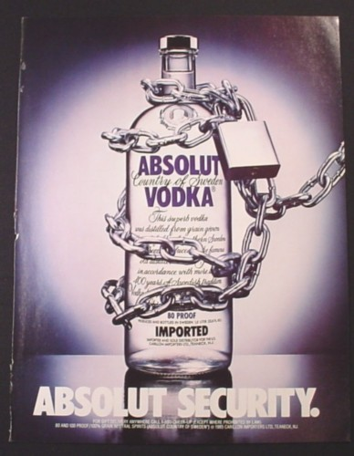 Magazine Ad for Absolut Security, Vodka, Bottle Locked With Chain, 1986
