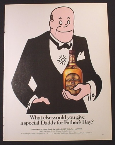 Magazine Ad for Chivas Regal Whisky, Daddy Warbucks Cartoon Character, 1986