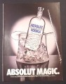 Magazine Ad for Absolut Magic, Vodka, Glass Top Hat Shaped Ice Keeper, 1988