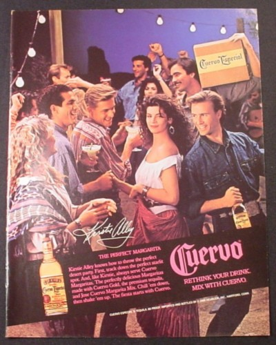 Magazine Ad for Cuervo Tequila, Kirstie Ally Celebrity Endorsement, 1988