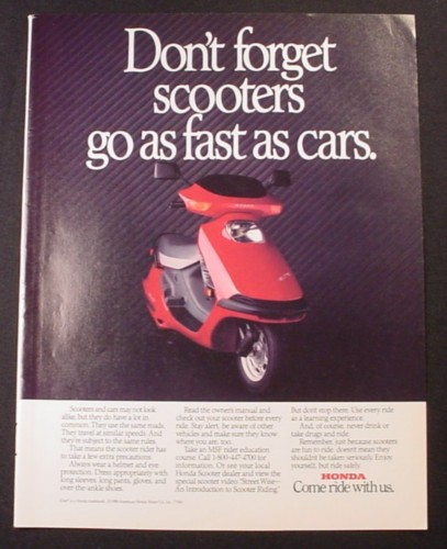 Magazine Ad for Honda Elite Scooter, Scooters Go As Fast As Cars, 1988