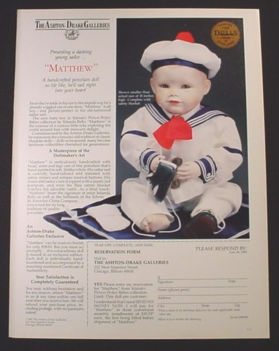 Magazine Ad for Matthew Porcelain Doll, Ashton Drake Galleries, 1988