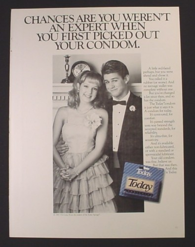 Magazine Ad for Today Condoms, Prom Dates, Picked Out Your First Condom, 1988
