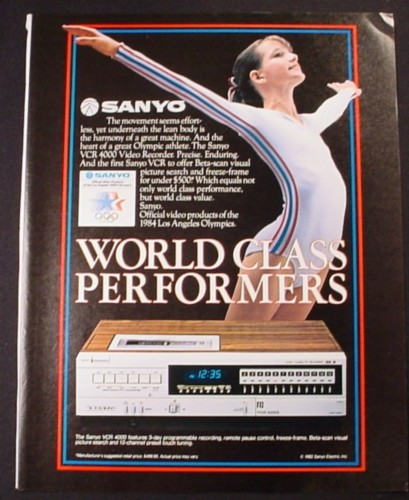 Magazine Ad for Sanyo VCR 4000 Video Recorder, 1984 Los Angeles Olympics, 1982