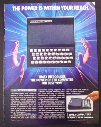Magazine Ad for Timex Sinclair 1000 Computer, Use With Your TV, 1982