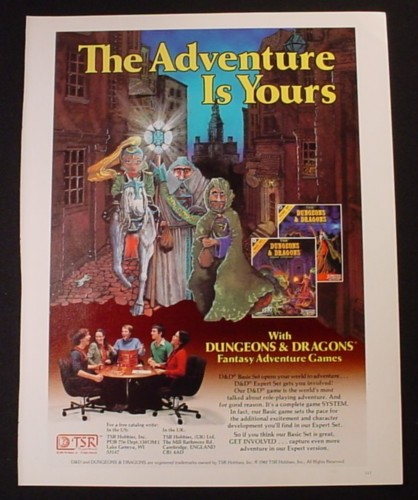 Magazine Ad for TSR Dungeons & Dragons Game, Fantasy Adventure, 1982