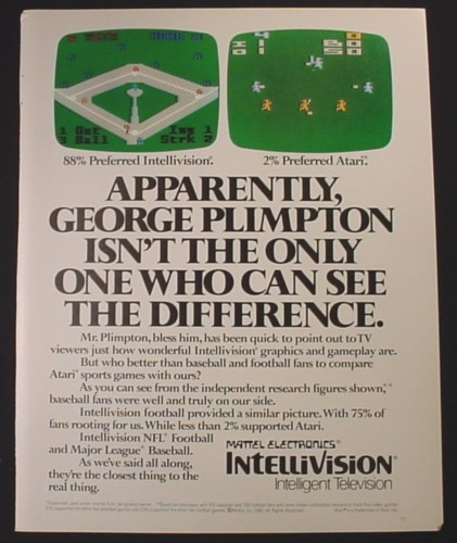 Magazine Ad for Intellivision Video Game, Compared to Atari, 1982