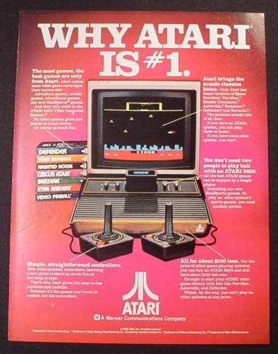Magazine Ad for Atari 2600 Game Console, Shows 7 Game Cartridges, 1982