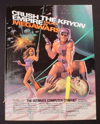 Magazine Ad for Compuserve Megawars Online Game, Crush The Kryon Empire, 1982