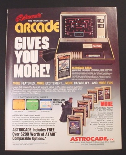 Magazine Ad for Astrocade Video Game Consoles, 7 Game Cartridges, 1982