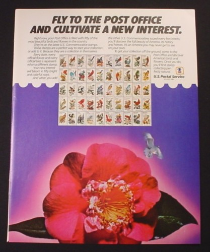 Magazine Ad for USPS America's Birds & Flowers Commemorative Stamps