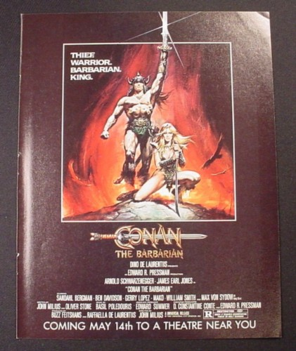 Magazine Ad for Conan The Barbarian Movie, Arnold Schwazenegger, Sci-Fi, 1982
