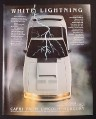 Magazine Ad for Lincoln Mercury Capri Car, White Lightning, 1982