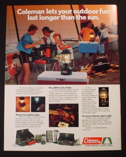 Magazine Ad for Coleman Camping Equipment, Beach Party, 1982