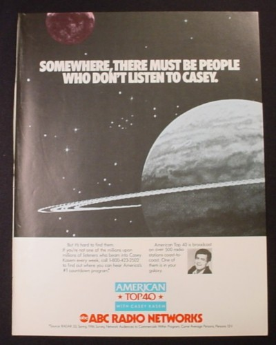 Magazine Ad for ABC Radio Networks, American Top 40, Casey Kasem, 1987