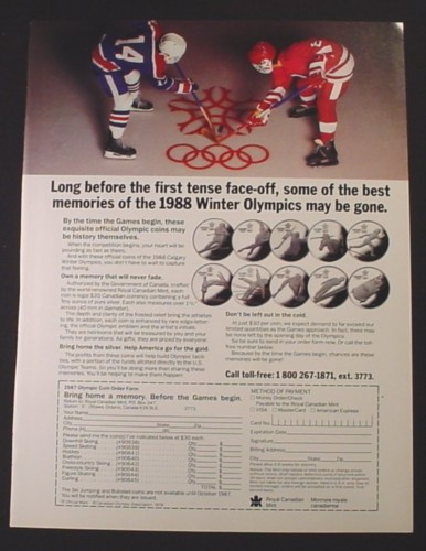 Magazine Ad for 1988 Olympics Coins, Royal Canadian Mint, 1987
