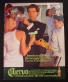 Magazine Ad for Cuervo Tequila, Pierce Brosnan Celebrity Endorsement, 1987