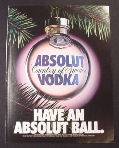 Magazine Ad for Absolut Vodka, Have An Absolut Ball, 1987