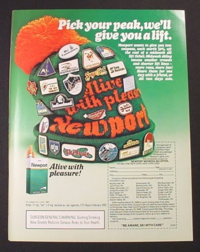 Magazine Ad for Newport Cigarettes, Hat with Pins From Various Ski Slopes, 1987