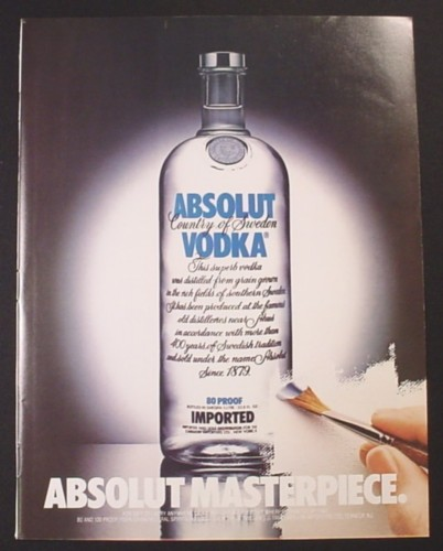 Magazine Ad for Absolut Masterpiece, Vodka, Painting of A Bottle, 1987