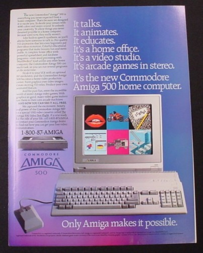 Magazine Ad for Commodore Amiga 500 Computer System, 1987