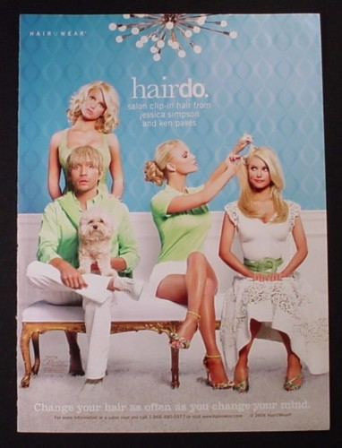 Magazine Ad for Hairdo Hair U Wear, Jessica Simpson Celebrity Endorsement, 2006