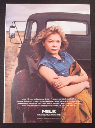 Magazine Ad for Got Milk, Leann Rimes (15 Years Old), 1998