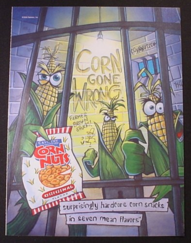 Magazine Ad for Corn Nuts, Hardcore Corn Snacks, 7 Mean Flavors, In Jail, 2002