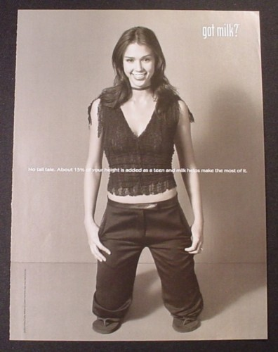 Magazine Ad for Got Milk, Jessica Alba, Kneeling, 2002