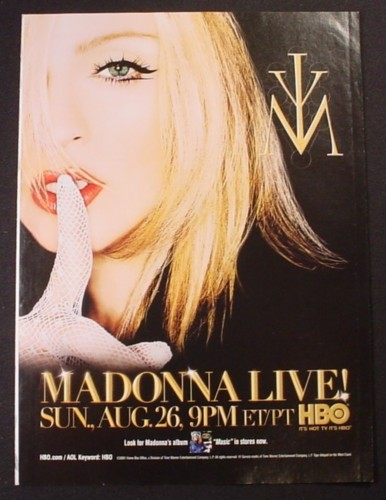 Magazine Ad for Madonna Live HBO TV Show Special, 2001