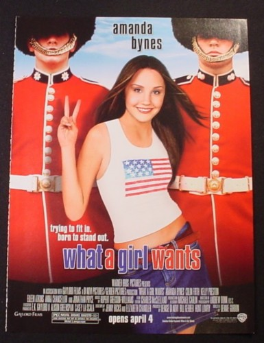 Magazine Ad for What A Girl Wants Movie, Amanda Bynes, 2003
