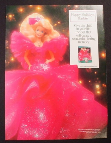 Magazine Ad for Happy Holidays Barbie Doll in Red Dress, Toy, 1999