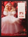 Magazine Ad for Happy Holidays Barbie Doll in White Dress, Toy, 1999