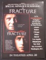 Magazine Ad for Fracture Movie, Anthony Hopkins, Ryan Gosling, 2007