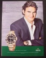 Magazine Ad for Rolex Oyster Perpetual GMT - Master II, Roger Federer, 2007