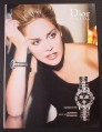 Magazine Ad for Dior Christal Watch, Sharon Stone Celebrity Endorsement