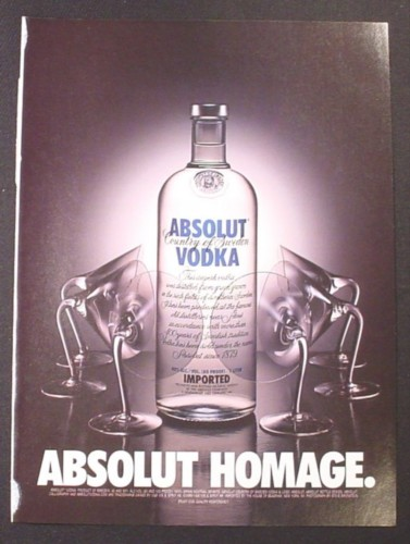 Magazine Ad for Absolut Homage, Vodka, Martini Glasses Bowing Down, 2000