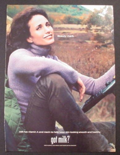 Magazine Ad for Got Milk, Andie MacDowell, 2003