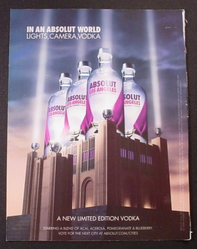 Magazine Ad for Absolut Los Angeles, Limited Edition Vodka, 2008